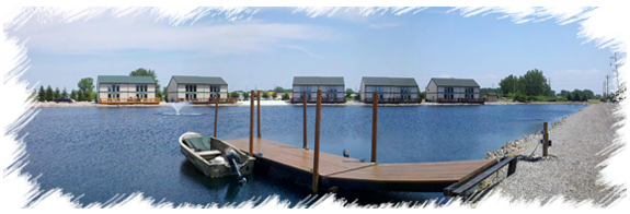Panoramic view across the private pond at Bay's Edge in Port Clinton, Ohio